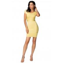 Herve Leger Celebrity Bandage Dresses Round Neck Short Sleeve Yellow