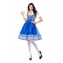 Womens Dress Blue Plaid Oktoberfest Fraulein Costume
