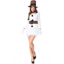 Christmas Party Ladies White Christmas Snowman Costume