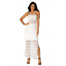 Herve Leger Bandage Dress Long Gown Halter Neck Lace Light White