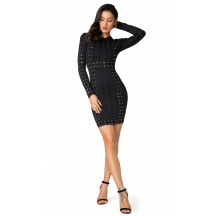 Herve Leger Bandage Dress Long Sleeve Lace Sequins Black