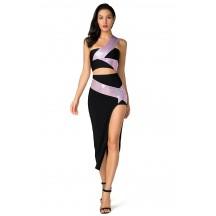 Herve Leger Bandage Dresses Long Gown One Shoulder Two Piece Black