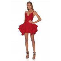 Strappy Sleeveless Asymmetric Ruffled Red Fishtail Dress