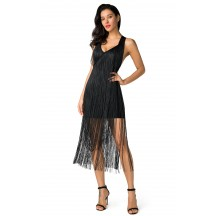 Herve Leger Black Fringe Midi Dress