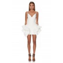 Strappy Sleeveless Asymmetric Ruffled Fishtail Dress