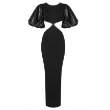 Crystal-Embellished Crepe Maxi Dress With Organza Puff-Sleeves