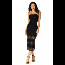 Herve Leger Bandage Dress Long Gown Strapless Lace Burgandy