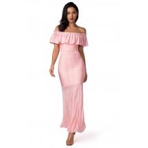 Herve Leger Bandage Dress Long Gown Off Shoulder Ruffled Pink