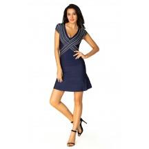 Herve Leger Bandage Dress Flared V Neck Crisscross Blue