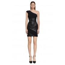Herve Leger Bandage Dress One Shoulder Foil Black