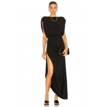 Long High Split Black Retrofete Florence Dress