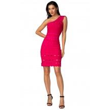 Herve Leger Bandage Dress One Shoulder A Line Lace Rose