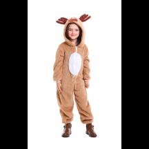 Christmas Elk Homewear Kids Coral Velvet Jumpsuit Costume