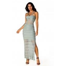 Herve Leger Bandage Dress Long Gown Halter Neck Lace Light Green
