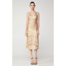Herve Leger Foiled Midi Dress