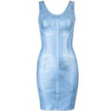 Herve Leger Bandage Dress Foil Blue V Neck