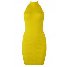Herve Leger Bandage Dress Halter Neck Backless Yellow