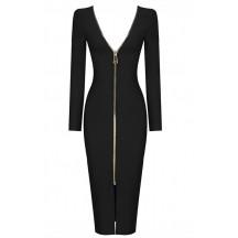 Long Sleeve Open Back Black Bandage Dress