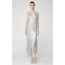 Herve Leger Izabel Silver Fringe Dress