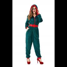 Fancy Party Homewear Adult Coral Velvet Christmas Jumpsuit Costume