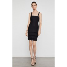 Herve Leger Bandage Dress Tank Strap Tassels Black