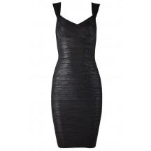 Herve Leger Abrielle Woodgrain Foil Printed Bandage Dress Black
