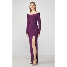 Herve Leger Off-The-Shoulder Long Sleeve Gown