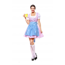 Womens Short Multicolor Dress Oktoberfest Fraulein Costume