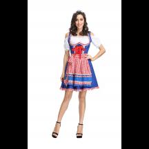 Oktoberfest Dirndl Dress Plaid Cosplay Costume