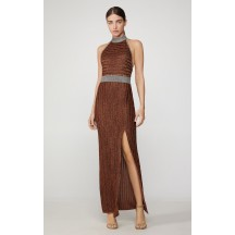 Herve Leger Metallic Eyelash Halter Gown