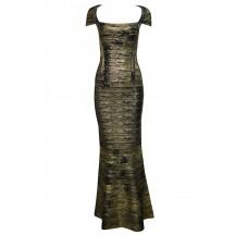 Herve Leger Bandage Dresses Long Gown Metallic Black Golden V Neck