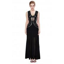 Herve Leger Bandage Gown Dresses Long Maxi Dress Deep V Neck Cutout Beaded Black