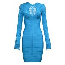Cheap Herve Leger Bandage Dresses Long Sleeve Net Blue