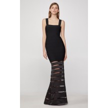 Herve Leger Striped Tulle Bandage Gown - Black