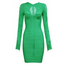 Cheap Herve Leger Bandage Dresses Long Sleeve Net Green