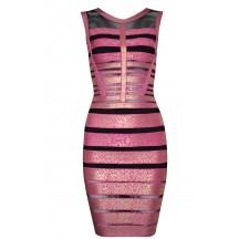 Herve Leger Bandage Dresses Sequin Foil Gauze Metallic Pink