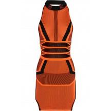 Herve Leger Bandage Dress Long Sleeve Jacquared Orange