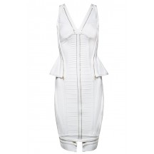 Herve Leger Bandage Dresses V Neck Flouncing Zip Back White