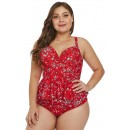 Plus-Size XXL Red Flower Split Swimsuit
