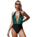 Summer Sexy V-Neck Open Back High Waist One-Piece Swimsuit