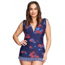 New Sexy V-Neck Printed Plus Size Bikini Two-Piece Suit