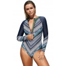 Long Sleeve One-Piece Printed Surfing Swimsuit