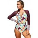 Fashion Printed One-Piece Zipper Surfing Swimsuit
