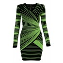 Herve Leger Bandage Dress Long Sleeve V Neck Stripped Green