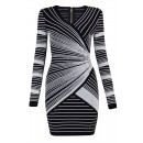 Herve Leger Bandage Dress Long Sleeve V Neck Stripped Black