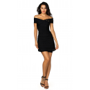 Herve Leger Bandage Dress Flared Off Shoulder Cut Out Black