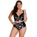 Retro Printing Split Style Halter Bikini Swimwear