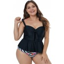 Plus Size Black Printing Shoulder Strap Swimsuit