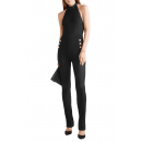 Herve Leger Bandage Dress Jumpsuit Halter Neck Buttons Black