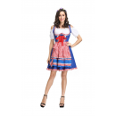 Oktoberfest Dirndl Dress Plaid Cosplay Costume